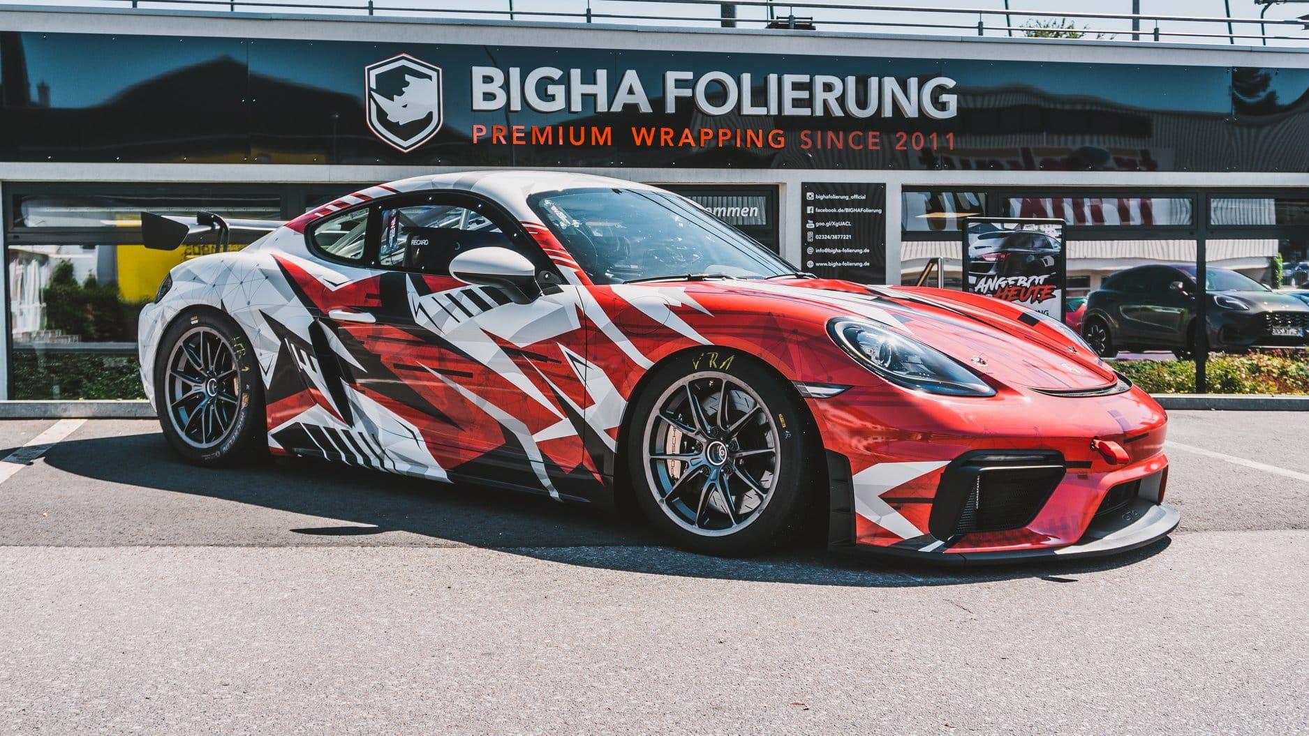 Porsche Cayman GT4 Rennwagen Folierung Designfolierung
