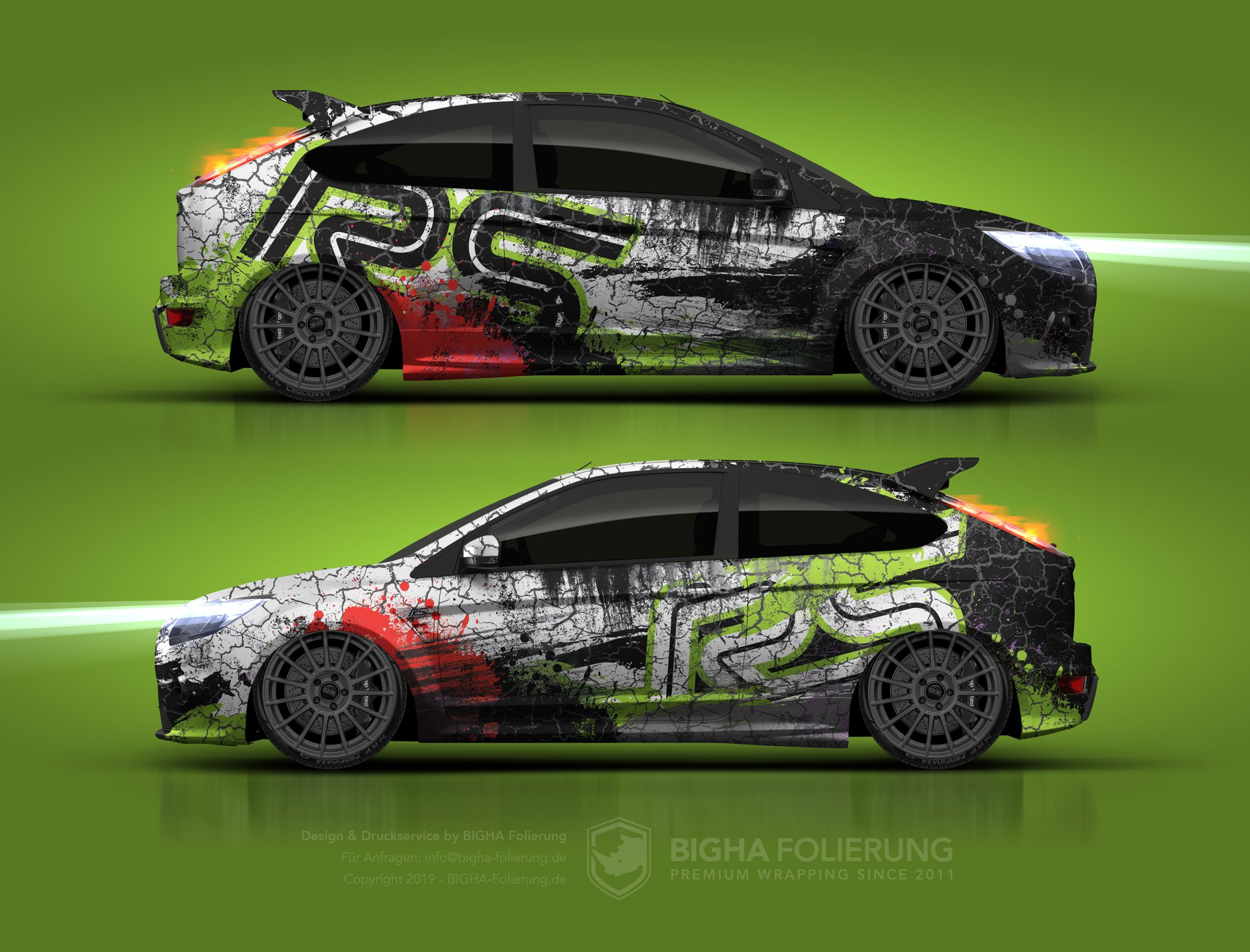 Ford Focus RS MK2 Design Car Wrapping Folierung